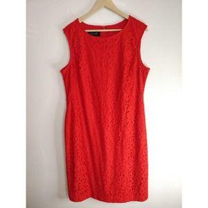 Evan Picone Black Label Red Lace Pencil Dress 16